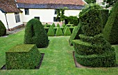 TOPIARY GARDEN WITH  LEANING CUBE & TATLINS TOWER (ORIGINAL DESIGNED BY VLADIMIR TATLIN)  IN FGRD. TAXUS BACCATA (YEW) & BUXUS SEMPERVIRENS (BOX)