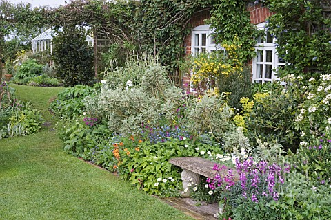 STONE_BENCH_WITH_BORDER_IN_FRONT_OF_COTTAGE_KITCHEN_GDN_WITH_GREENHOUSE_IN_BGD_ERYSIMUM_BOWLES_MAUVE