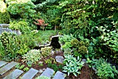 SMALL SHADED SPRING GARDEN WITH MIXED PLANTING OF PERENNIALS, EVERGREEN TREES, SHRUBS & CLIMBERS. SMALL SNAKING WATER FEATURE, ROCKS & STONE PAVING.  LORENTZONS GARDEN, SWEDEN.