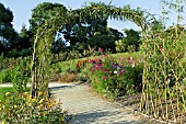 WOVEN WILLOW ARCHWAY IN THE VEGETABLE POTAGER GARDEN
