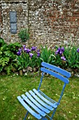 Chair and Iris, Herbarium, medieval garden , Saint-Valery-sur-Somme , Picardy, France