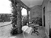 THE RUSTIC VERANDA AT ENDSLEIGH HOUSE OVERLOOKING THE RIVER TAMAR - 1961