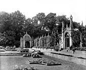 THE SOUTH TERRACE OF THE ITALIAN GARDEN AT WESTONBIRT, WITH NEO-JACOBEAN AND MOORISH GAZEBOS DESIGNED BY HENRY HAMLEN IN 1843.