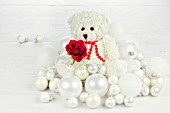 WHITE BEAR WITH RED ROSE