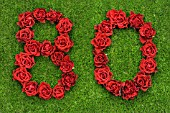 NUMBER 80 IN RED ROSES