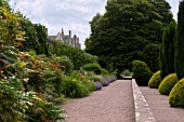 BORDERS AND TOPIARY ALONG THE FORMAL TERRACES AND WALLS. AT ST FAGANS CASTLE GARDENS