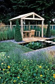 COVERED PATIO AND POOL,   THE PERENNIAL GARDEN DESIGN,  NICHOLAS J BOLT TATTON PARK 2003