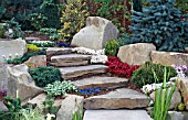 NATURAL DRY STONE STEPS WITH ROCK GARDEN