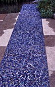 PATH OF BLUE GLASS PEBBLES