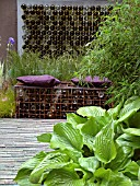 BOTTLE WATER FEATURE,  BOTTLES IN WIRE FRAME AS A SEAT,  HOSTA