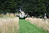 PATH IN MEADOW,  GRAIN STORE (EASTON WALLED GARDENS,  GRANTHAM)