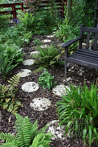 ROUND_STEPPING_STONES_THROUGH_FERNERY_AND_WOODEN_BENCH_RIPPINGALE_LINCS