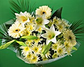 CREAM THEMED FLOWER ARRANGEMENT (GREEN BACKGROUND)