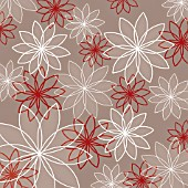 OVERLAPPED HOLLOW OUTLINED FLOWERS IN RED AND WHITE REPEAT, (GRAPHIC ART)