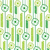 GREEN FERN AND GREEN ROSE REPEAT DESIGN, (GRAPHIC ART)