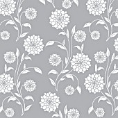 DOUBLE FLOWER WHITE SOLID WHOLE PLANT REPEAT, ON GREY BACKGROUND, (GRAPHIC ART)