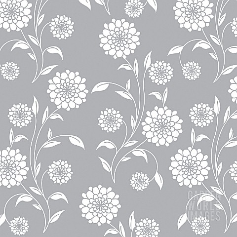 DOUBLE_FLOWER_WHITE_SOLID_WHOLE_PLANT_REPEAT_ON_GREY_BACKGROUND_GRAPHIC_ART