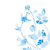 BLUE LEAVES PLANT SILHOUETTE, (GRAPHIC ART)