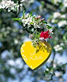 YELLOW HEART-SHAPED BOX WITH NAME