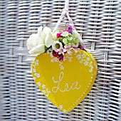 YELLOW HEART WITH FLOWERS AND NAME