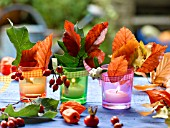 AUTUMNAL TABLE LANTERNS WITH LEAVES