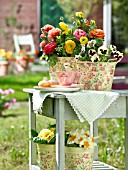 RANUNCULUS AND PANSIES ON GARDEN TABLE