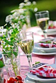 SUMMER TABLE DECORATED WITH HERBS - CHAMOMILE AND MINT