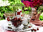 TABLE LANTERN AND CHERRIES
