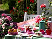 COLOURFUL BALCONY TABLE WITH ROSES