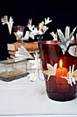 CANDLE HOLDERS DECORATED WITH PAPER BLOSSOMS