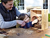 INSECT HOUSE BUILDING PROJECT WITH FATHER AND SON.  LOG PLACED IN BOX  STEP 24