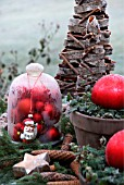 A TABLE IN THE GARDEN DECORATED WITH A BELL JAR FILLED WITH RED CHRISTMAS BALLS
