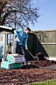 EMPTYING SACKS OF MULCH ONTO WEED SUPPRESSANT-MEMBRANE AND RAKING OUT TO FLATTEN, RAISED VEGETABLE BED PROJECT.