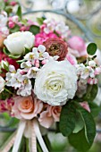 MALUS X EVERESTE  SPRING BOUQUET OF PINK ROSES  RANUNCULUS AND APPLE BLOSSOM