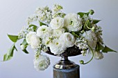 WHITE RANUNCULUS ASIATICUS AND SYRINGA VULGARIS ANGEL IN ANTIQUE SILVER PEDESTAL BOWL