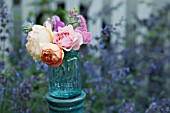 BOUQUET OF ROSA A SHROPSHIRE LAD, GRAHAM THOMAS, LADY EMMA HAMILTON AND RAINBOW KNOCKOUT IN ANTIQUE MASON CANNING JAR