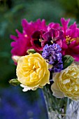 SUMMER BOUQUET OF ROSA GRAHAM THOMAS, NEPETA WALKERS LOW (CATMINT), DOUBLE PEONIES AND PANSIES