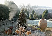 FROSTY WINTER GARDEN WITH BIG POT, CONIFERS AND MIXED PLANTING
