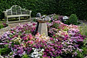 STATUE OF LITTLE GIRL AND WATER FEATURE SURROUNDED BY DIANTHUS BARBATUS (SWEET WILLIAMS)