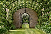 PERGOLA WALK WITH TRAINED PEARS AND VIEW THROUGH DOOR AT OZLEWORTH PARK, GLOUCESTERSHIRE