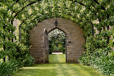 PERGOLA_WALK_WITH_TRAINED_PEARS_AND_VIEW_THROUGH_DOOR_AT_OZLEWORTH_PARK_GLOUCESTERSHIRE