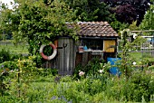 SHED IN COUNTRY GARDEN