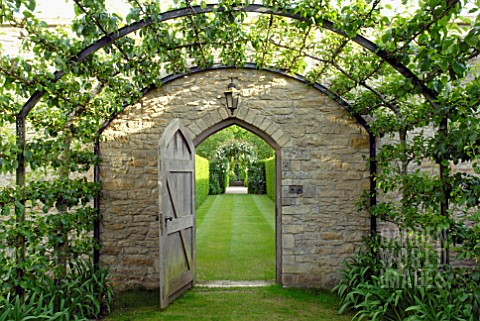 PEAR_TUNNEL_AND_DOORWAY_AT_OZLEWORTH_PARK_GLOUCESTERSHIRE
