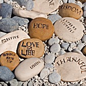 ENGRAVED STONES WITH POSITIVE MESSAGES