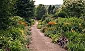 VIEW DOWN THE LONG PATH AT THE DOROTHY CLIVE GARDEN,  WILLOUGHBY,  SHROPSHIRE,