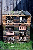 INSECT HOME MADE FROM PALLETTS AND RECYCLED AND RECLAIMED MATERIALS,  ORGANIC
