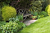 SEATING AREA IN SHADE AT ASHOVER,  STREETLY,  NGS,  MAY
