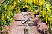 VIEW WITH ARMILLARY AT THE LABURNUM WALK AT THE GARDEN AT THE BANNUT,  BRINGSTY,  HEREFORDSHIRE,  MAY