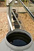 CONSERVING RAINWATER FROM A GREENHOUSE GUTTER,  AT RYTON ORGANIC GARDEN,  COVENTRY,