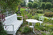 THE TERRACE AT THE HOUSE OF PITMUIES GARDEN, SCOTLAND. (Editorial use only)